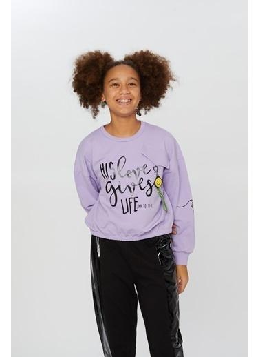 Little Star Little Star Kız Çocuk Love Gives Sweatshirt Lila